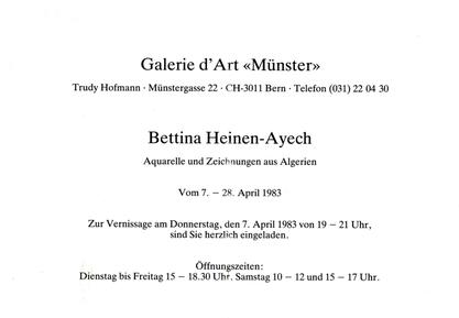 "Meintest du: Einladungskarte der Galerie d'Art ""Münster, Bern 48/5000 Carton d'invitation de la Galerie d´Art ""Münster, Berne"