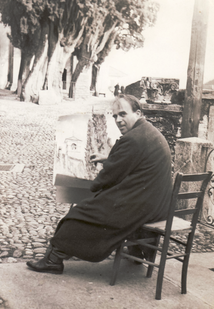 Erwin Bowien painting in Brissago, 1948