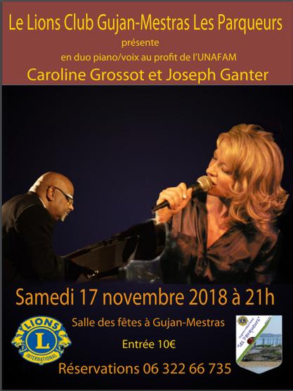 Flyer concert à la Salle des Fêtes de Gujan-Mestras le 17 novembre 2018
