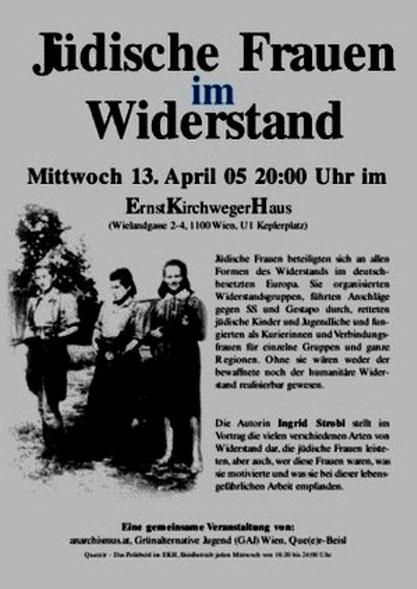 Infomøde om kvindernes væbnede antifascistiske modstand i det bz'atte autonome 'Ernst Kirchwegerhaus' i Wien (2005)