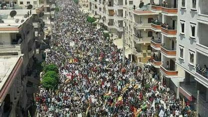 Afrins beboere demonstrerer imod den tyrkiske invasion