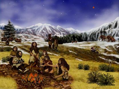 Neandertaler, prähistorische Berge, Steinzeitmenschen
