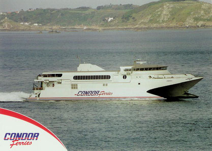 Official postcard published by Condor 10 featuring Condor 10 at sea.