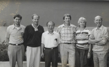 Hermann Ortlieb (von rechts), Karin Wesp, Rolf Müller. Karl-Heinz Wesp und Manfred Wille. Dritter von links Lee Soo-Min, Generalsekretär des CVJM-Weltbundes (YMCA World Alliance).