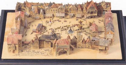 Vienna Hoher Markt nel 1692 con la fontana tubolare della condotta idrica di Hernals ( Modello di legno nel Museo di Prater)