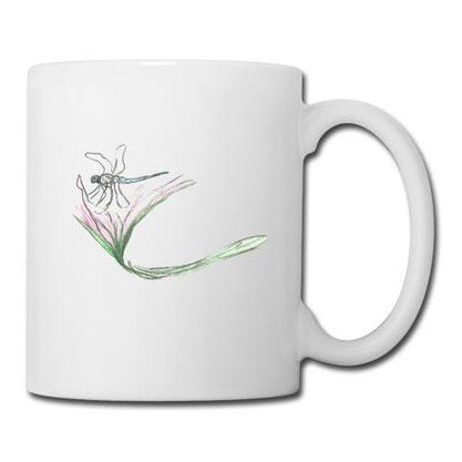Tasse Libelle auf Blüte, Kaffeetassen-Shop, Syelle Beutnagel