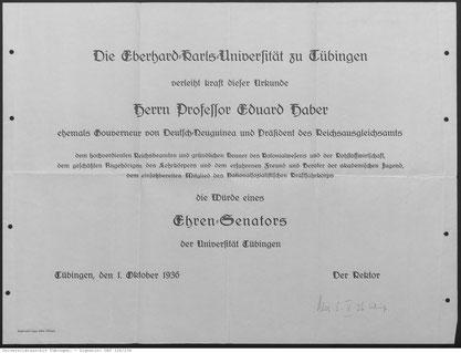 Bild: Universitätsarchiv Tübingen, Signatur 126/234.