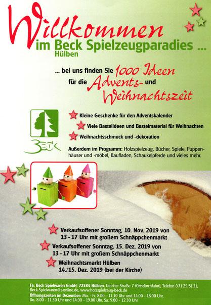 Einladung zum Weihnachtsmarkt und den verkaufsoffenen Sonntagen 2019