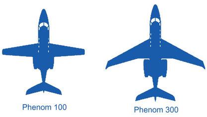 Comparaison des ailes du Phenom 100 et du Phenom 300