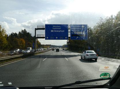 Auf dem Weg nach München: gleich zur Raststätte Nürnberg/Feucht