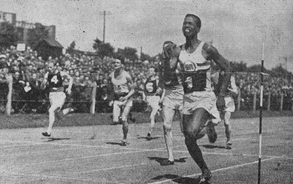 E. McDonald Bailey winning the 100 metres at the 1947 international. Trinidad-born, he dominated sprinting in Great Britain and went on to win the bronze medal at the 1952 Olympic Games at Helsinki.