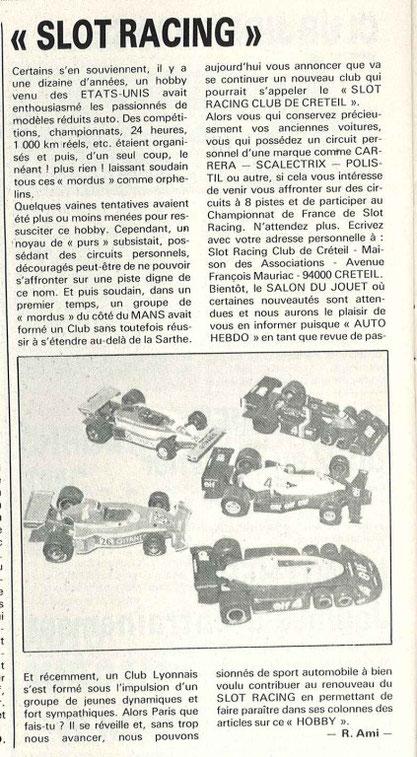 AutoHebdo n° 152 du 22 février 1979 article de Raymond Ami