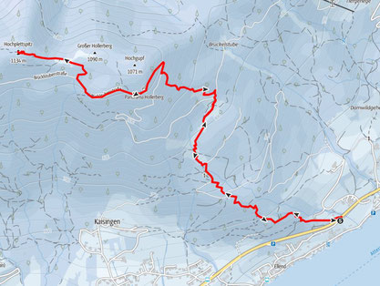 Route von Unterach am Attersee auf die Hochplettspitze