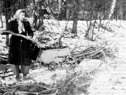 Eine Frau sammelt Holz, Anfang 1946, irgendwo in Deutschland. Bild: US Department of defense.*