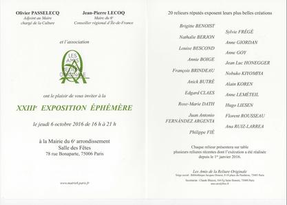 XXIII exposition éphémère 2016 - Reliure d'Art - Paris