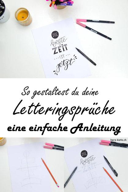 Eine einfache Anleitung, wie du deine Letteringsprüche gestalten kannst. Egal für welchen Spruch du dich entscheidest, mit diesem einfach umsetzbaren Prinzip kreierst du im Nu tolle Sprüche mit Handlettering.