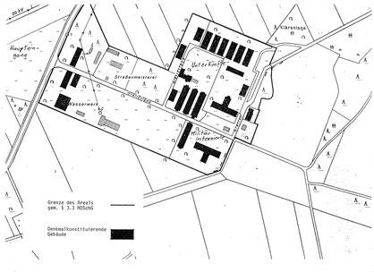 Erhaltene und zu dem Zeitpunkt unter Denkmalschutz stehende Gebäude des ehem. Kriegsgefangenenlagers (Stalag) X B. Denkmalschutzkarte des NLD, nicht datiert.