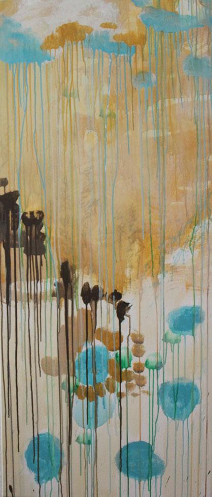 Nr. 2013-HO-005-a: Ca. 70 x 170 cm, Acryl auf Leinwad. Auf den Spuren von Cy Twombly