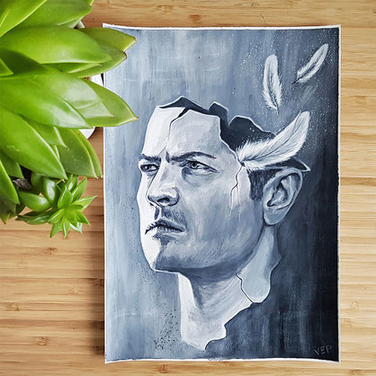 Acrylic surreal portrait of Castiel from Supernatural