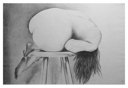 Akt auf Hocker,Bleistift,94x64 cm