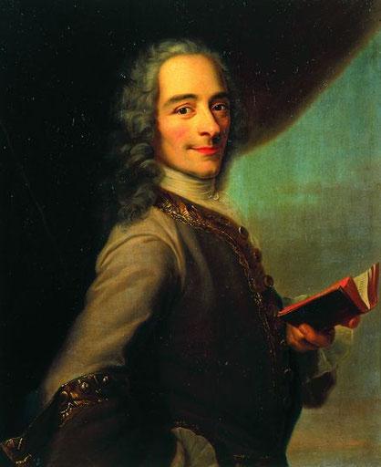 Portrait de François-Marie Arouet, dit Voltaire (larousse.fr). Ce tableau se trouve au château de Versailles.
