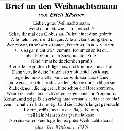 Weihnachtslied von Erich Kästner