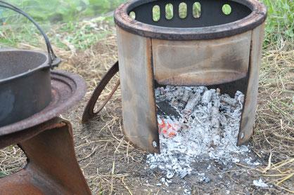 キクイモ 焚火 ダッチオーブン 自然栽培 農業体験 体験農場