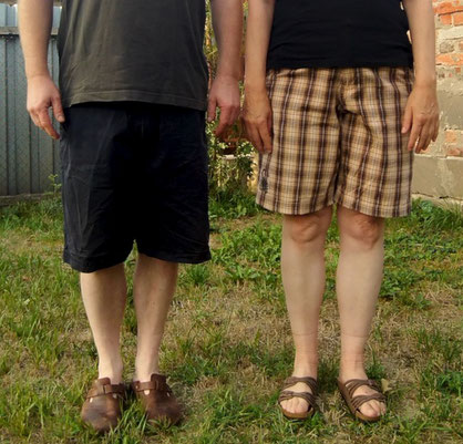 My husband and I with second-hand shorts. © Griselka 2020