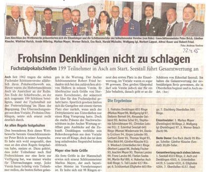 54. Fuchstalpokalschießen 2015 in Asch
