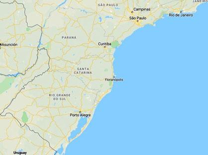 Karte von Süd-Brasilien mit den Stationen von Hedy: Rio de Janeiro, Sao Paulo und Porto Alegre. Der Abstand zwischen Rio de Janeiro und Porto Alegre ist ca. 1500 km.