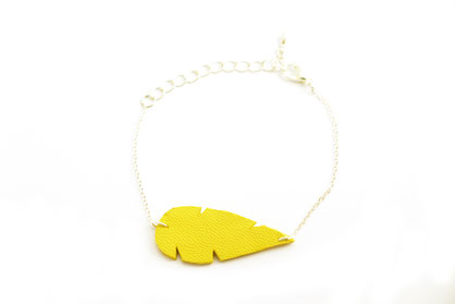 bijoux cuir, sarayana, bracelet cuir, bracelet jaune, bijou jaune, bijou fait main, création bijoux, bijoux cuir, bijou été