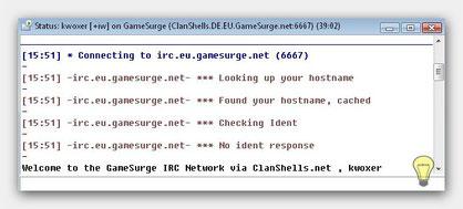 Beim Einloggen zum IRC Server
