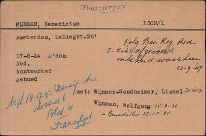 Letztes Lebenszeichen von Benedictus Wijnman sowie Liesel geb. Sondheimer und Söhnchen Wolfgang (Arolsen, Online-Archiv, Signatur 1242023)