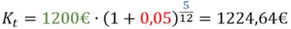 Beispiel für die Berechnung des Monatszinses mit Zinseszinsen