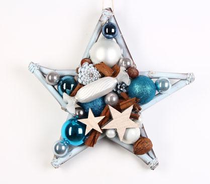Blauer Stern mit weißem Glasbonbon.