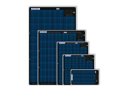 SOLARA M-Serie mit hochleistungs Solarzellen. Solarmodule extrem flach, begehbar, rutschfest zum aufkleben und aufschrauben. Seit über 20 Jahre alle Tests auch auf Segelbooten bestanden. Qualität aus Deutschland - einfach zu berechnen auch für Komplettset