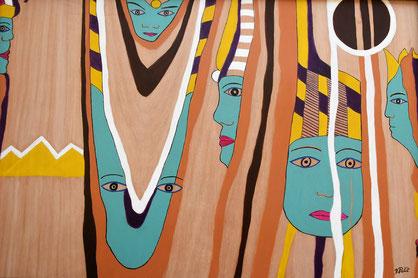 Voyage à Louxor n° 2, acrylique et posca sur bois, cadre noir
