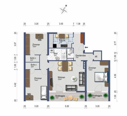 4 Zimmer Wohnung mit 87 qm, neue Küche, neues Bad