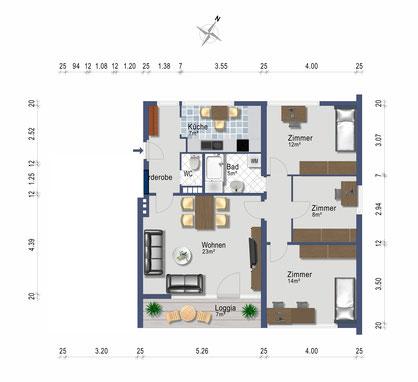 4 Zimmer Wohnung mit 85 qm, neue Küche, neues Bad, GARTEN