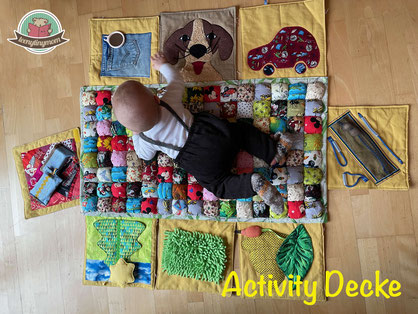 Spieldecke, Krabbeldecke, Nähanleitung, Tipps, Mobilität, Ansporn für Babys, Krabbelkind, Activity Decke