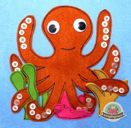 Krake, Octopus, Fühlbuch, Knöpfe Schablone, Nähanleitung kostenlos