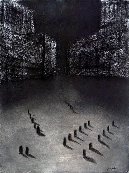 Cementerio 1, 2006 carboncillo 35X28 cm