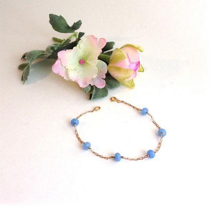 chaîne maille cheval en plaqué or et jaspe bleu, bracelet Emeline
