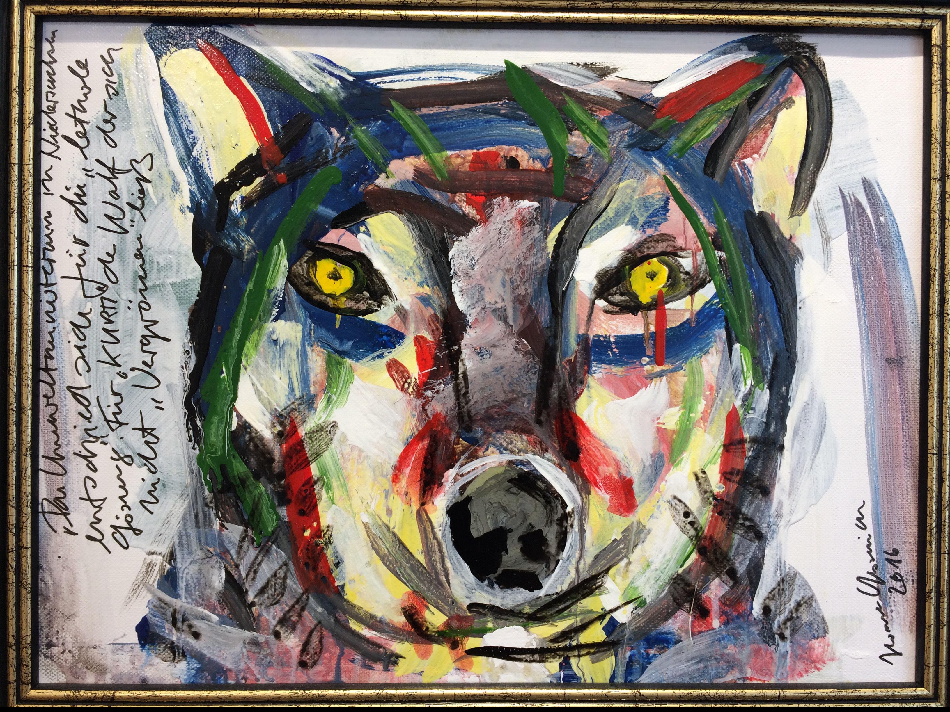 """""""Requiem für einen Wolf / Never cry Wolf"""" von Jean Lessenich, 30 x 40 cm gerahmt, Mischtechnik, 2016"""