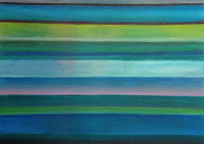 Abendstimmung am Bieler See, 21x29cm, Ölpastell auf Papier, 2015