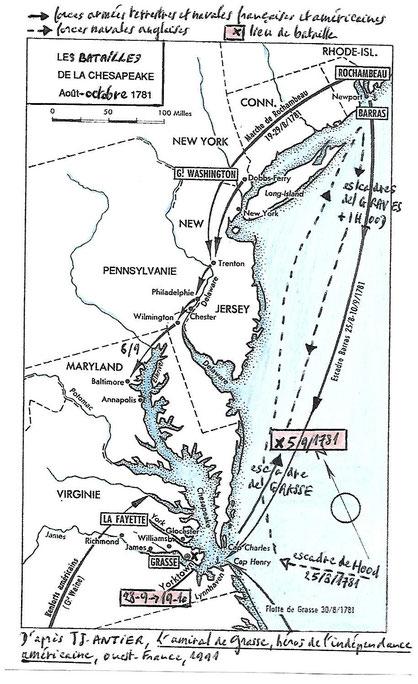 Document 3_ Carte du littoral atlantique des Etats-Unis en 1781 avec les forces en présence regroupées vers la baie de Chesapeake