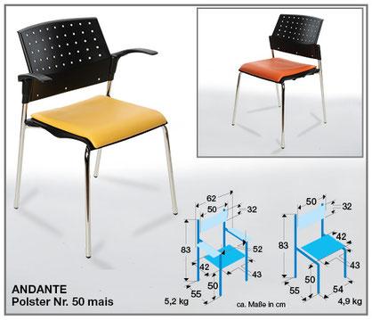 Die Armlehnen sowie Sitz- und Rückenträger des stapelbaren Wartezimmerstuhls ANDANTE von SIMPEX-OBJEKT  sind in schwarz oder softgrau wählbar.