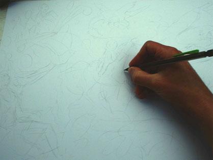 Le crayonné grossier, placement des personnages. Image d'accueil de COBEditions, des BD pédagogiques pour enfants, les aventures de Julie et Beau Prince, par Emmanuelle OLGUIN