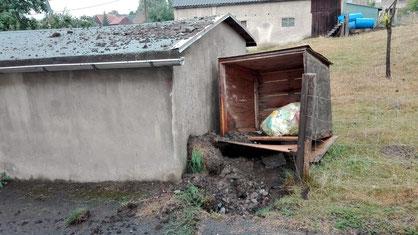 Bild: Blitzeinschlag Wasserleitung Wünschendorf 2018