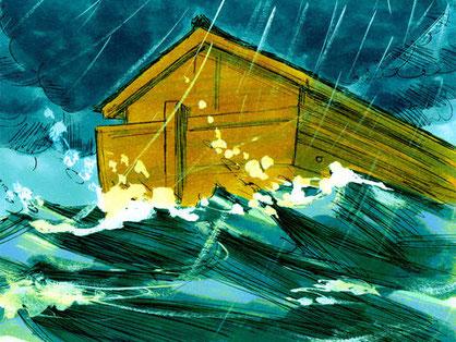 Pendant le déluge, la pluie est tombée pendant 40 jours et 40 nuits. Le nombre 40 est un nombre symbolique important dans la Bible.